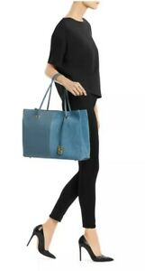 Stuart Weitzman The 5050 Tote Cerulean Light Blue Leather And Suede, orig $595