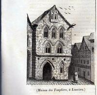 FRANCIA LOUVIERS XILOGRAFIA PRIMA META' '800 (1835 ?) TRATTA DA LA MOSAIQUE