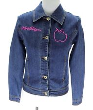 Apple Bottoms NWT Women Jean Jacket Size S Navy Blue Pink Embroidery $125
