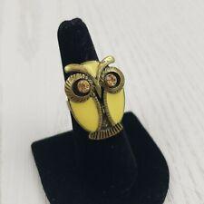 Brass Tone Enamel Owl Chunky Statement Ring Rhinestone Yellow Fashion Jewelry
