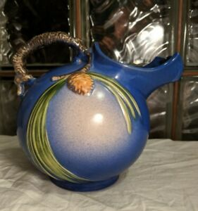 RARE Art Deco 1935 ROSEVILLE Pottery BLUE PINECONE Ball Pitcher / Vase 1321
