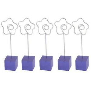 5pcs Resin Base Flower Clasp Pictures Card Paper Holder Memo Clip Office Purple