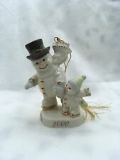 """2000 Lenox Snowman """"Practice Makes Perfect"""" Ivory Ice Skating Ornament"""