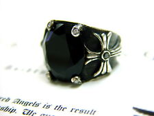 Men's Silver Cross Ring With Black And White Diamonds by Sacred Angels
