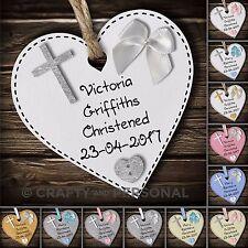 Personalised Baby's Christening gift plaque Baptism heart keepsake for boy girl
