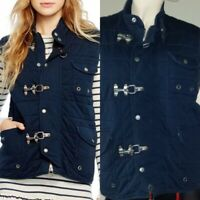 Polo Ralph Lauren Women's Quilted Cotton Navy Blue Aviator Vest