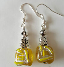 Glass bead drop dangle,silver plated earrings yellow, tibetan,  (208) 8x8x5mm