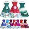 Women's Plus Size Christmas Vintage Ball Dress Lace Panel Snow Print Swing Dress