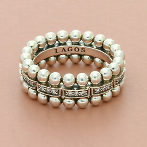 lagos sterling silver caviar spark 0.26 ct diamond beaded band ring size 7