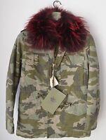 Mr&Mrs Italy Women Fur-lined Camouflage FIELD JACKET Parka Coat Fur-trimmed Sz M
