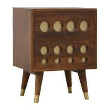 Dark Wood Bedside Table 2 Drawers Gold Brass Inlay Handmade Solid Furniture