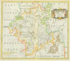 1722 Original Antique Map - WORCESTERSHIRE by Robert Morden HAND COLOURED