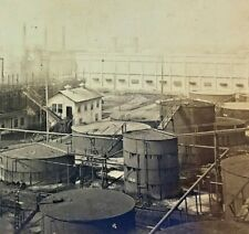 Stereoview Port ArthurTexas Crude Oil Stills and Can Factory Early 1900