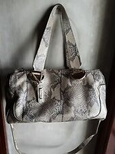 COLE HAAN SNAKE SKIN LEATHER CONVERTIBLE BAG-GRAY