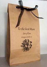 Bolsa De Regalo Personalizado Mamá Kraft Día de las Madres Cumpleaños cinta hecho a mano
