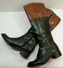 Etienne Aigner Black Brown Zip Tall Knee Hi Riding Fashion Boots Women's 7M