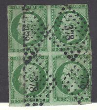 FRANCE Bloc N°12 NAPOLÉON 1854  5 c vert  ,sans charniere sans aminci cote 1540€