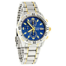 Citizen Quartz Chronograph Mens Blue Dial Two Tone Watch AN3394-59L