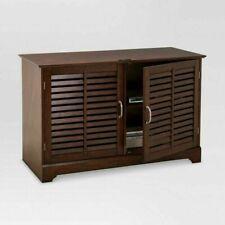 Shuttered Door TV Stand Brown Threshold  Target Furniture 249-10-0100