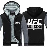 UFC Fighting Night Hoodie Zipper Sweatshirt Print Hooded Warm Coat Jacket Top