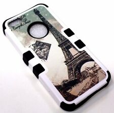 for iPhone 5 5s SE Eiffel Tower Paris Stamp Black Rubber Hybrid Protective Case