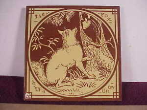 Minton's China Works Aesop's Fables The Fox & the Crow Antique Tile