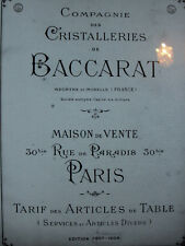 BACCARAT 1907-1908 Catalogue livre cristal cristalleries  168 PAGES PDF