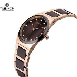Bering Rose Time Gold Ceramic Two Tone Ladies Watch 10725-765