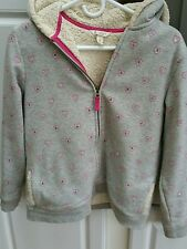 Land's end kids Girls XL 16 Gray Coat with pink hearts hooded