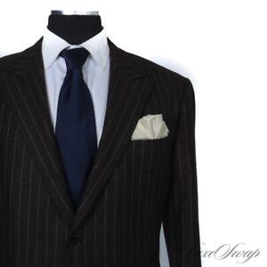 BIG GUYS Hickey Freeman Colton Brown Tweed Flannel Chalkstripe 2B 2V FF Suit 48