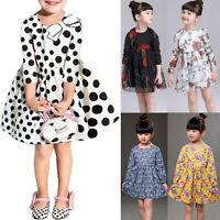 Girls Kids Child Baby Clothes Floral Long Sleeve Party Princess Tutu Dress Skirt