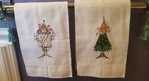 Christmas embroidered guest towels:   Krinkles  3 pieces