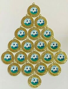 20 x FOOTBALL GOLD METAL MEDALS, FREE RIBBONS, FREE P&P