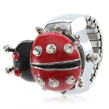 Lady Bug Ring Watch Silver Band Crystal Accents
