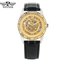 WINNER Watches Men's Automatic Mechanical Wrist Watch Leather Strap Skeleton
