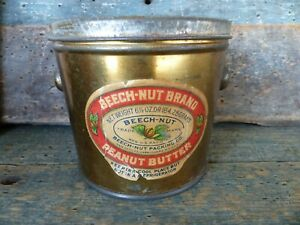 antique advertising tin pail beech-nut brand canajoharie ny peanut butter 16 oz