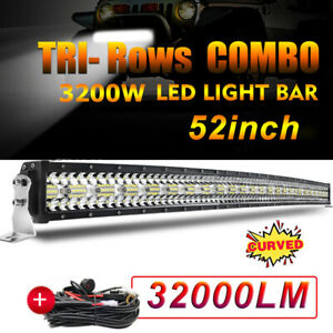 "TRI-Row 52inch 3200W Curved LED Light Bar Spot Flood Truck Offroad VS 54""50"" 22"""