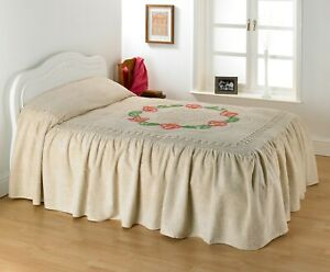 """CANDLEWICK BEDSPREAD Traditional """"Roma"""" Design Fitted with Valance 100% Cotton"""