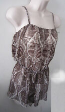 H&M Women's Spaghetti Straps Sheer Brown Printed Jumpsuit ~ Size S ~ NWOT