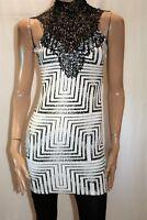 CAROLINE MORGAN Black White High Lace Neck Bodycon Dress Size 8 BNWT #SD62