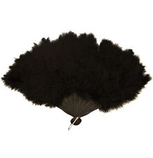 LUXURY  FEATHER FAN FOR FANCY DRESS BLACK COLOUR.