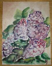 VINTAGE PURPLE LILACS TREE BUSH FLOWERS BOTANICAL STILL LIFE WATERCOLOR PAINTING