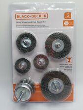 """Black & Decker 6 Pc Wire Wheel & Cup Brush Set for Drills 1/4 """" Shank Bdawireset"""