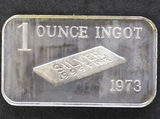 1973 1 Ounce Ingot Silver Art Bar CT-9 Crabtree Mint P1105