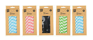 Paper Straws 50 Pack Eco Friendly 100% Biodegradable  Assorted Colours -  Party