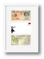 2 FRAMED DI-FACED TENNERS £10 NOTE BANKSY BALLOON GIRL PRESENTATION