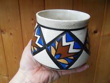 Vintage vase enamel emaillé emaux art nouveau deco géométrique signé AMC WASMUEL