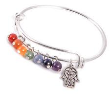 Bangle 7 Chakra Gemstone Bracelet, Hamsa Charm, Yoga