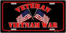 Vietnam War Veteran Metal Novelty License Plate Tag