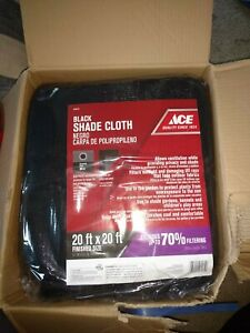 Ace Polypropylene Shade Cloth 20 ft. H x 20 ft. W 70% Rate Cloth Black 8398414